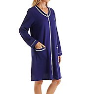 Eileen West Blue Flower French Terry Short Zip Robe 5116103