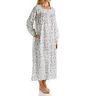Eileen West Blue Flower Cotton Ballet Long Sleeve Nightgown 5216117