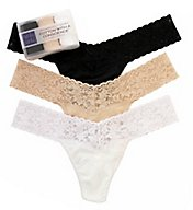 Hanky Panky Organic Cotton Low Rise Thong - 3 Pack 8915813